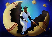 Ny Yankees Paintings - Breaking Out with Regie by Thomas Kolendra