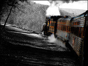 Steam Locomotives Digital Art Posters - Breaking the time barrier  Poster by Steven  Digman