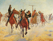 Western Western Art Posters - Breaking Through the Line Poster by Charles Schreyvogel