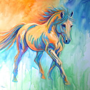 Colorful Horse Paintings - Breaking Through by Theresa Paden