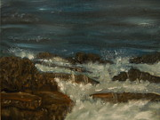 Waterscape Painting Prints - Breaking waves Print by Nicla Rossini