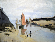 Sailboat Ocean Posters - Breakwater at Trouville Poster by Claude Monet