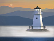Lighthouse At Sunset Prints - Breakwater Fog Print by James Charles