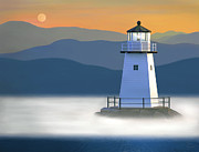 Realist Prints Posters - Breakwater Light Poster by James Charles