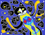 Happy Black Cats Posters - Breathing in the Cosmos Poster by Anita Dale Livaditis