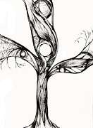Tree Roots Drawings Framed Prints - Breathing Tree III Framed Print by Andrea Carroll