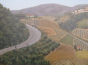 Cyclists Paintings - Breathtaking Tuscany by Phyllis Andrews