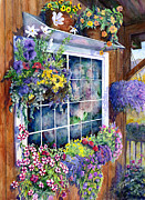 Cabin Window Painting Framed Prints - Breckenridge Reflections Framed Print by Mary Giacomini