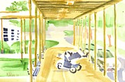 Student Painting Framed Prints - Breezeway with Baby Carriage Framed Print by Kip DeVore