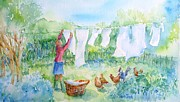 Apparel Painting Prints - Breezy Day  -Great drying out Print by Trudi Doyle