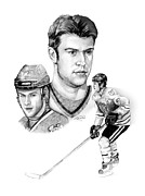 League Drawings Prints - Brent Seabrook - Intimidation Print by Jerry Tibstra
