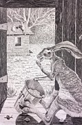 Shed Drawings Prints - Brer Rabbit Nibbles up all the Butter Print by Lena Quagliato-Miller
