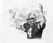 National League Drawings Metal Prints - Bret Favre Metal Print by Timothy Ramos