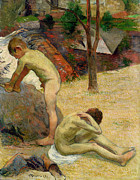 Children At Beach Prints - Breton Boys Bathing Print by Paul Gauguin