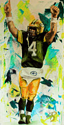Nfl Sports Paintings - Brett Favre by Adam Barone