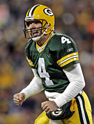 Green Bay Photos - Brett Favre celebrating by Sanely Great