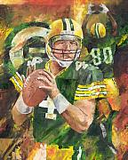 Green Bay Packers Framed Prints - Brett Favre Framed Print by Christiaan Bekker