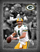 Green Bay Packers Posters - Brett Favre Packers Poster by Joe Hamilton