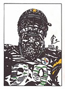Steelers Drawings Framed Prints - Brett Keisel 2 Framed Print by Jeremiah Colley
