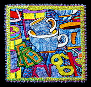 Folk Tapestries - Textiles Posters - Brew and U Poster by Susan Sorrell