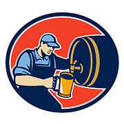 Barrel Digital Art - Brewer Bartender Pour Beer Pitcher Barrel Retro by Aloysius Patrimonio