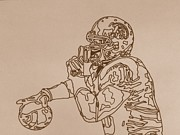 Trojans Prints - Brian Cushing First Sketch Print by Jeremiah Colley