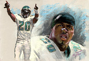 Football Drawings Prints - Brian Dawkins Print by Viola El