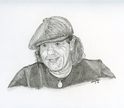 Singer Drawings - Brian Johnson ACDC by Eva Ason