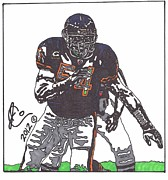 Sports Art Drawings Posters - Brian Urlacher Poster by Jeremiah Colley