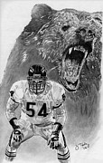 Pro Football Drawings Posters - Brian Urlacher Poster by Jonathan Tooley