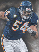 Chicago Bears Paintings - Brian Urlacher Seek and Destroy by David Courson