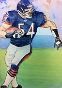 Chicago Bears Paintings - Brian Urlacher by Tiffany Albright