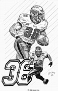 Philadelphia Eagles Drawings - Brian Westbrook by Jonathan Tooley
