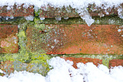 Frame House Prints - Brick Background With Snow And Ice Upon Print by Fizzy Image