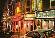 City Streets Pastels Prints - Brick Lane Night 3 Print by Paul Mitchell