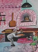 Italian Restaurant Posters - Brick Oven Pizza Poster by Emily Michaud