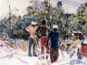 Sweat Mixed Media Prints - Brick Pickers Print by Charles M Williams
