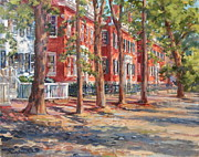 Nantucket Paintings - Brick Row of Nantucket by Sharon Jordan Bahosh