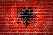 Old Wall Digital Art Prints - Brick Wall Albania Print by Antony McAulay