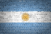 Tiled Digital Art Prints - Brick Wall Argentina Print by Antony McAulay