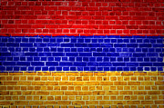 Old Wall Digital Art Prints - Brick Wall Armenia Print by Antony McAulay