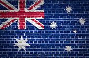 Tiled Digital Art Prints - Brick Wall Australia Print by Antony McAulay