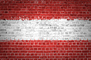 Tiled Digital Art Prints - Brick Wall Austria Print by Antony McAulay