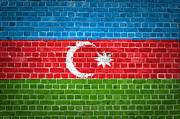 Tiled Digital Art Prints - Brick Wall Azerbaijan Print by Antony McAulay