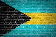 Bahamas Digital Art Framed Prints - Brick Wall Bahamas Framed Print by Antony McAulay
