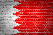 Old Wall Framed Prints - Brick Wall Bahrain Flag Framed Print by Antony McAulay