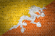 Old Wall Digital Art Prints - Brick Wall Bhutan Print by Antony McAulay