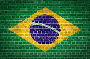 Old Wall Digital Art Prints - Brick Wall Brazil Print by Antony McAulay