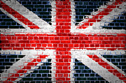 Old Wall Digital Art Prints - Brick Wall Britain Print by Antony McAulay