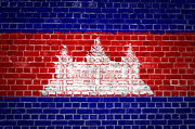 Cambodia Framed Prints - Brick Wall Cambodia Framed Print by Antony McAulay